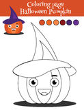 Coloring page with halloween pumpkin. Educational game, drawing kids activity Royalty Free Stock Photo