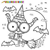 Coloring page Halloween witch flying with broom Stock Photography
