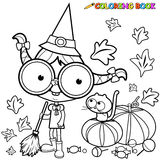 Coloring page Halloween witch sweeping pumpkin leaves. Stock Image