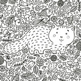 Coloring page. Hand-drawn illustration. Perfect antistress. A fat red cat surrounded by flowers, fish, toys and other. Feline staff. Doodle style. Black and Royalty Free Stock Photo