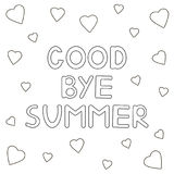 Coloring page with hand drawn text. `Goodbye summer` and hearts. Vector illustration Royalty Free Stock Photo