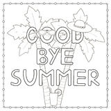 Coloring page with hand drawn text. `Goodbye summer`, palms, hat, cocktail. Vector illustration Stock Photo