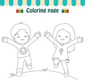 Coloring Page Happy Kids Stock Photography