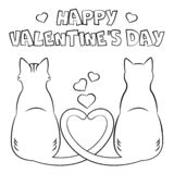Coloring page `Happy Valentine`s Day`. stock illustration