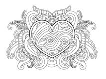 Coloring page with heart and abstract element isolated. Happy Valentines Day Graphic for print, card. Stock Photo