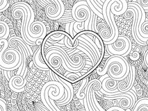 Coloring page with heart and asian wave curl ornament. Happy valentine day love card. Royalty Free Stock Photos