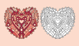 Coloring page heart ornament vector Royalty Free Stock Photo