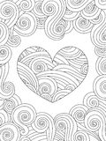 Coloring page with heart and wave curly ornament. Happy valentine day love card. Vertical composition. oloring book for adult and older children. Editable art vector illustration