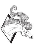 Coloring page with horse portrait Stock Photography