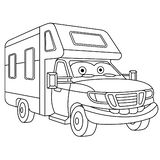 Coloring page with house on wheels rv trailer. Coloring page. Colouring picture. Cute cartoon house on wheels. RV recreational vehicle trailer. Childish design stock illustration