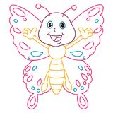 Coloring Page Illustration of Cartoon Butterfly Stock Image