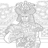 Zentangle stylized japanese samurai Stock Images