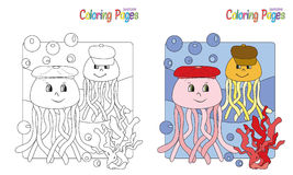 Coloring Page Jellyfish. Coloring book at sea, jellyfish and corals Royalty Free Stock Photography