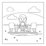 Coloring page with kid on playground Royalty Free Stock Photo