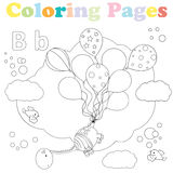 Coloring page for kids,alphabet set,letter B. Coloring page for kids with a cute dinosaur floating in the air with balloons,meets two sweet birds Stock Image