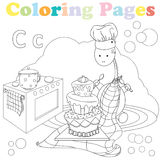 Coloring page for kids ,alphabet set,letter C. Coloring page for kids with cute dinosaur sitting in the kitchen and eating a big cake vector illustration