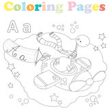 Coloring page for kids ,alphabet set,letter A. Coloring page for kids with cute dinosaur in an airplain Stock Photos