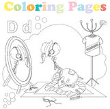 Coloring page for kids ,alphabet set,letter D. Coloring page for kids with cute dinosaur dressing up in front of a mirror Stock Images