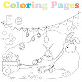 Coloring page for kids ,alphabet set,letter E. Coloring page for kids with sweet little dinosaur dressed in a bunny costume bringing some easter eggs Stock Photo