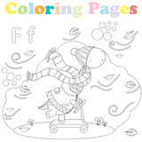 Coloring page for kids ,alphabet set,letter F. Coloring page for kids withsweet little dinosaur playing outside in the wind and falling leafes Royalty Free Stock Images
