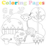 Coloring page for kids ,alphabet set,letter G. Coloring page for kids with cute dinosaur in yard gardening Royalty Free Stock Image