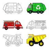 Trucks coloring page vector illustration
