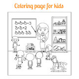 Coloring page for kids during lesson Royalty Free Stock Images
