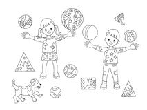 Coloring page kids and puppy. Coloring page with cartoon playing kids and puppy with balls for children coloring book, album, decorate kids room, wall, book Stock Photo