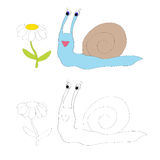 Coloring page for kids - snail Stock Photo