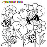 Coloring page ladybugs and flowers Stock Photography