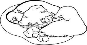 Coloring Page Landscape. Doodle cartoon of a valley and hill landscape coloring page Royalty Free Stock Image