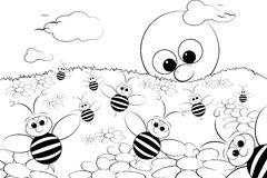 Coloring Page - Landscape with sun and bees. Coloring page for kids - Good morning with flowers, bees and sun Royalty Free Stock Photo