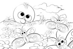 Coloring Page - Landscape with sun and butterflies Royalty Free Stock Images