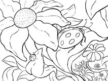 coloring page large ladybug on the leaf of a flower line art royalty - Ladybug Coloring Page