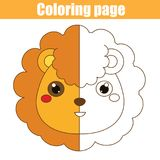 Coloring page with lion. Drawing kids game. Printable activity Stock Photography