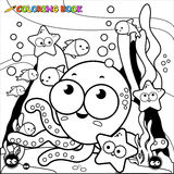 Coloring page little octopus underwater. Vector Illustration of a black and white outline image of a cute octopus playing with the fish underwater. Coloring book Royalty Free Stock Images