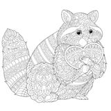 Zentangle raccoon coloring page. Coloring page. Lovely raccoon with heart for Valentines Day card. Anti stress colouring picture with chihuahua. Freehand sketch vector illustration