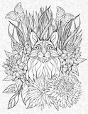 Coloring page with a lynx. Floristic coloring page with a lynx Stock Photo