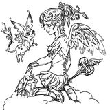 Coloring page with magic girl and her pet Stock Photography