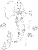 Coloring page. Coloring with mermaid and fish royalty free stock photos