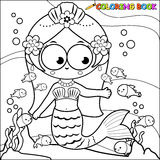 Coloring page mermaid swimming in the sea Stock Photos