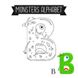 Coloring page monsters alphabet letter B. Coloring page monsters alphabet for kids. Letter B vector illustration Royalty Free Stock Photography