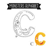 Coloring page monsters alphabet letter C Stock Images