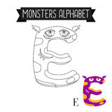 Coloring page monsters alphabet letter E Stock Photography
