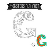 Coloring page monsters alphabet letter G Stock Image