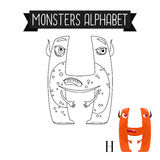 Coloring page monsters alphabet letter H. Coloring page monsters alphabet for kids. Letter H vector illustration Stock Photo