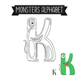 Coloring page monsters alphabet letter K Royalty Free Stock Photos