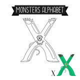 Coloring page monsters alphabet letter X. Coloring page monsters alphabet for kids. Letter X vector illustration Royalty Free Stock Photography