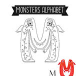 Coloring page monsters alphabet letter M. Coloring page monsters alphabet for kids. Letter M vector illustration Royalty Free Stock Photo