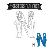 Coloring page monsters alphabet letter N Stock Photos